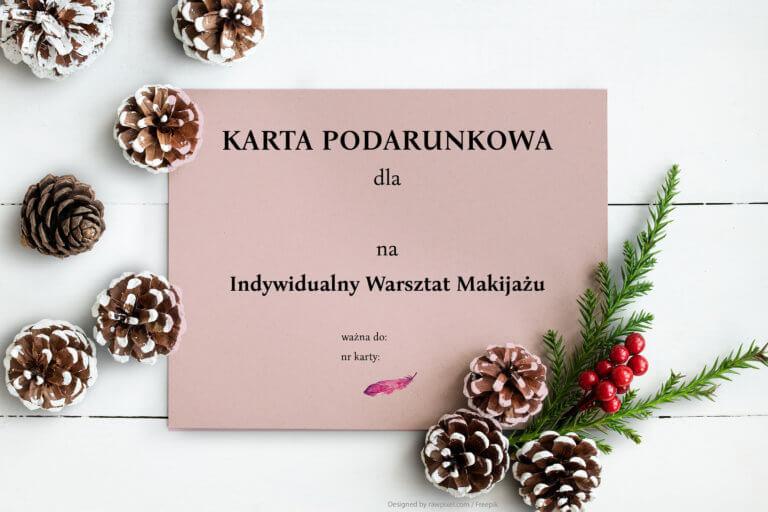 karta podarunkowa na warsztaty makijażu prezent na Święta Warszawa