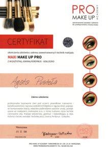 Agata Pustola Makijazystka Certyfikat make up pro 2018