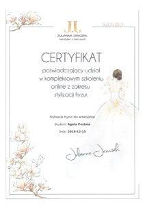 Agata Pustola Makijazystka Certyfikat stylizacja fryzur 2019
