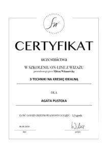 Certyfikat makijaz idealna kreska
