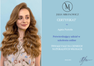 certyfikat fryzura fale na cienkich wlosach